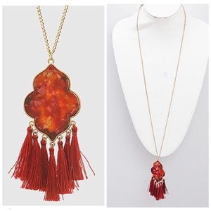 Red marbled acetate thread tassel pendant necklace